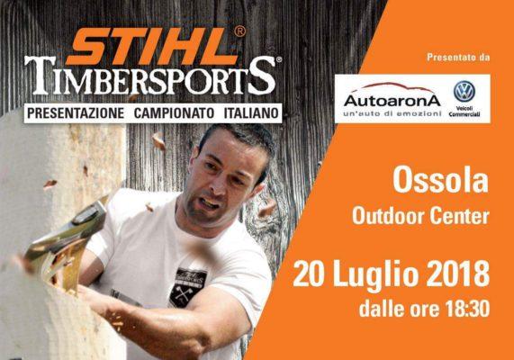 Presentazione discipline STIHL Timbersports al centro commerciale Ossola Outdoor Center
